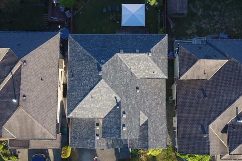 aerial view roof repair project shingles
