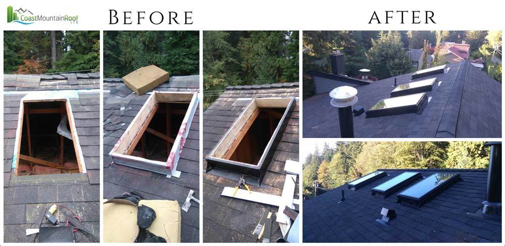Roof skylight install before and after