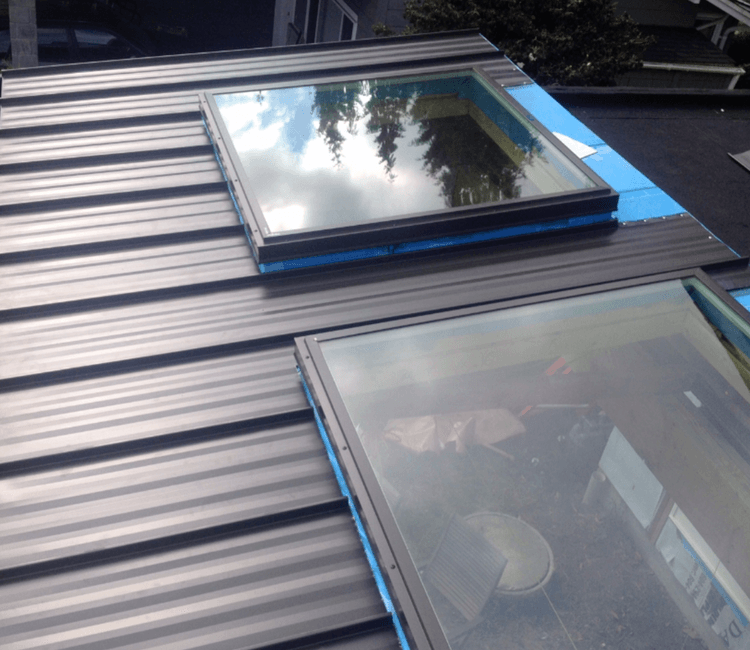 Metal roof with skylight